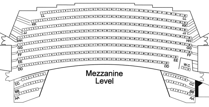 Mezzanine Level Seating Chart